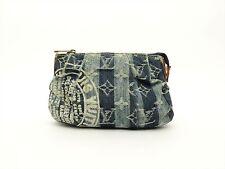 Louis Vuitton Authentic Monogram Denim Blue Trousse Raye POUCH Cosmetic Bag LV