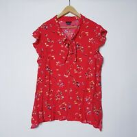 City Chic Plus Size 16 S Small Red Floral Button Up Blouse Top