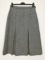 Murray of Hawick Scotland 100% Pure New Wool Black+White Check Midi Skirt Sz 14