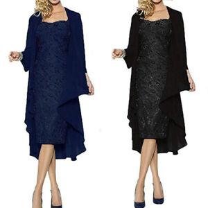 Damen Business Spitze Kleid mit Jäckchen 2-teilig Freizeit Abendkleid BC963