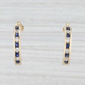 1.05ctw Blue Sapphire White Diamond Half Hoop Earrings 14k Yellow Gold