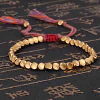 Tibetan Buddhist Braided Cotton Copper Beads Handmade Lucky Rope Bracelet Bangle