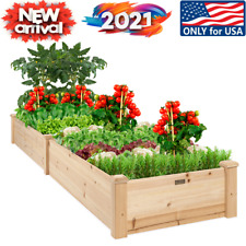 Wooden Raised Garden Bed 8x2ft Outdoor Planter for Grass Lawn Yard Best Product