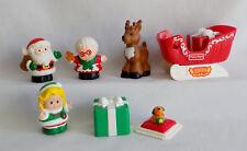 Fisher Price Little People Christmas SANTA Mrs Claus Elf Sleigh Reindeer & GIfts