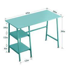 Office Desk Blue with 2 Storage ShelvesRectangle Computer Gaming Desk