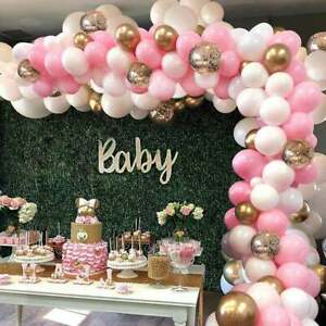 Pink & White Balloon Arch Kit - 124 Pieces White, Pink, Gold & Gold Confetti