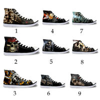 Skull Style Men's Canvas Shoes High Top Sneakers Lace Up Breathable Casual Shoes