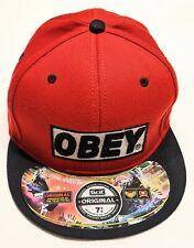 OBEY Snapback Cap hat, 6 panel, mint condition, 7 3/4 cap,black & red