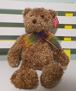 GUND TEDDY BEAR WITH TAGS PLUSH TOY SOFT TOY BEARESSENCE 27CM SEATED RAINBOW BOW