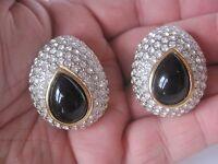 Fabulous, Large, Les Bernard Clip Earrings, Black Enamel and Rhinestones