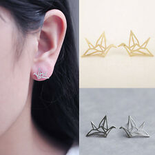 Charm Origami Crane Stud Earrings Cute Hollowed Ear Studs Chic Birds Earrings、QA