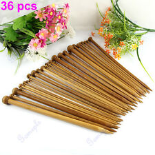 36Pcs 18 sizes Single Pointed Carbonized Bamboo Knitting Needles Crochet Set