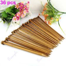 36Pcs 18 sizes Single Pointed Carbonized Bamboo Knitting Needles Crochet Set