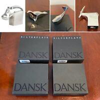 New in Box Lot of 4 DANSK Silverplate & Nickel Animal Figurines Paperweights