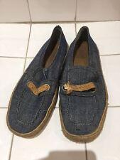 Vintage 60s Denim De Lona Calzado De Playa Mod Retro Zapatos Talla 6