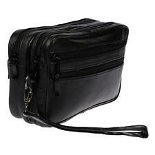 XL Leder Doppelkammer Handgelenktasche Herrentasche Tasche