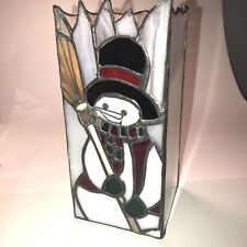 Snowman Candle Cover White Irredescent Square Stained Glass 8� Studio Nova