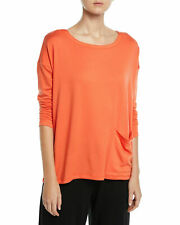 Eileen Fisher Women's Blouse M Hot Red Tencel Stretch Terry Ballet Tunic Top