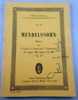 Mendelssohn Octet E Flat Major Study Score Edition Eulenburg No 59
