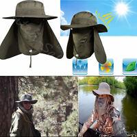 Outdoor Snap Hat Brim Ear Neck Cover Sun Flap Cap Visor Fishing Hiking Garden