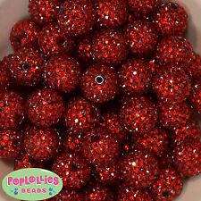 20mm RED SHINY RHINESTONE Bubblegum Beads 20 pc Chunky Jewelry Necklace