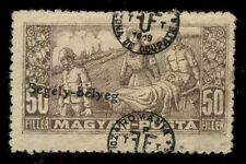 HUNGARY 2nd DEBRECEN issue, 1920 3NB2, 50f DOUBLE OVPT, LH
