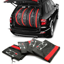 """Black and Red Strong Spare Wheel Storage Protective Covers x 4 13""""-18"""""""