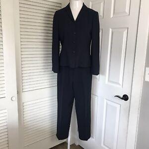 Casual Corner Blazer & Pant 2 Piece Suit Set ~ Sz 6/8 ~ Navy Blue