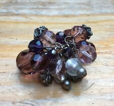 Striking Big Purple Glass Bead Ring/Cluster/ Statement/Chunky/Size L