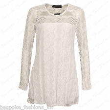 Ladies Women's Stylish Lace Lined Long Sleeve Party Tunic Dress Top Plus 14-28 White 18