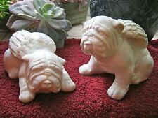 Bulldog Angels, White Concrete Bully Statues, Painted Cement Garden Memoria