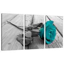Set of 3 Teal Floral Canvas Wall Art Pictures Black White Prints 3037