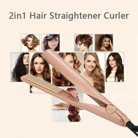 2 IN 1 Curl & Straight Salon Curling Hair Straighteners Curler Women 2019 New