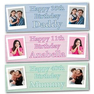 2 PERSONALISED  PHOTO BIRTHDAY BANNERS - ANY NAME - ANY AGE - 800 x 297mm