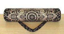 Cotton Black Golden Mandala Yoga Gym Mat Carrier Bag With Shoulder Strap Throw