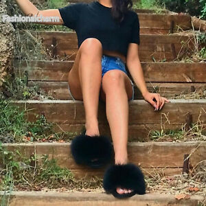 Real Fox Fur Slides Womens Slippers Beach Sandals Indoor Outoor Holiday Shoes