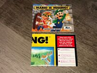 Mario is Missing Instruction Manual Booklet + Map Nintendo Nes Authentic