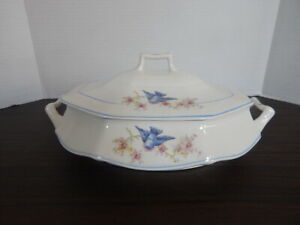 """Limoges USA China """"Flying Bluebird"""" Covered Casserole Dish"""