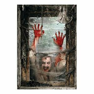 Fun Express - Zombie Window Backdrop Banner (2pc) for Halloween Wall Decor~SCARY