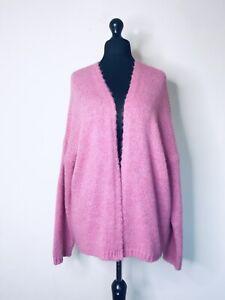 Italian Lagenlook Pink Soft Knit Star Sleeve Cardigan - UK 16 18 20