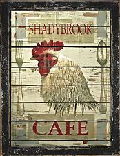 Primitive Rustic Farmhouse French Country Cafe Kitchen Home Decor Rooster Sign