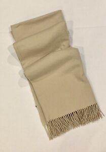 "Minimalist Solid Oatmeal Tan 100% Cashmere Fringed Throw Blanket 50x70"" EUC"