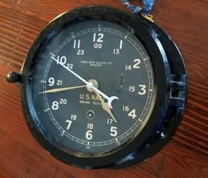Restored WWII 1943 US NAVY 12/24hr. Chelsea Ships Clock, Excellent Timekeeper!