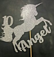 CUSTOM Cake Topper Unicorn ANY NAME & AGE Silver Glitter  FREE UK P&P