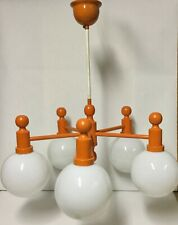 Vintage Mid century orange design ceiling light lamp metal and glass topdesign