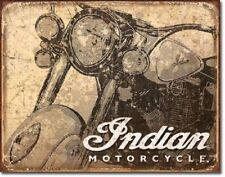 Indian Scout Motorcycle Antiqued Ad Harley Garage Wall Decor Metal Tin Sign New