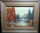 """Baltic amber picture """"Autumn, lake forest"""" with wooden frame 14x12 cm, handmade"""