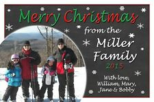 Holiday Christmas Personalized Card with Family Photos Chalkboard Snow Globe