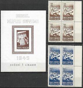 "TURKEY - 1950 MNH ""General CENSUS"" Souvenir Sheet & Block Of 4 Complete Set !!!"