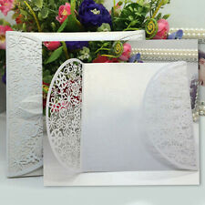 FP- White Wedding Party DelicateRomantic Carved Flowers Invitation Card Reliable